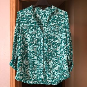 The Limited Green and White Print Blouse